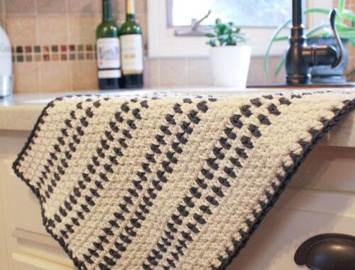 Modern Farmhouse Dish Towel Free Crochet Pattern