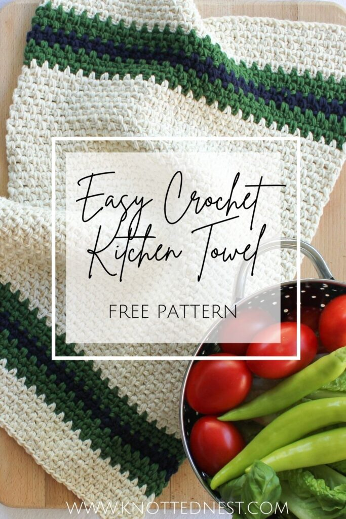 Easy Crochet Kitchen Towel Free Pattern The Knotted Nest