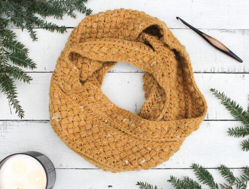 Mustard Puff Crochet Infinity Scarf Free Pattern